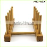 Bamboo Plate Holder Stand Dish Drying Rack Multip-function for Plate, Cup, Books/Homex_Factory