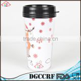 NBRSC cheap price promotion coffee tumbler plastic double wall colorful paper inside water travel mugs with lid