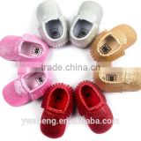Factory fringe pu leather moccasins Shiny hand-soft bottom tassel toddler shoes newborn baby shoes