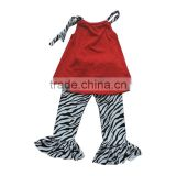 Boutique Cheap Baby Girl Clothes Cotton Knit Sleeveless Tops Cute Zebra Printed Pants Leggings Toddler Girl Clothes