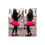 Girls Girl Childrens Kids Hot Neon UV Pink Black Dress Up Dance TuTu Mini Skirt