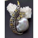 Very precious jewelry Italian design ~ 925 silver plating 24 k imperial court process ~ 925 silver inlaid baroque pearl pendant brooch amphibious type of style restoring ancient ways is the fashion