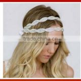 Bride Gold Crystal Beads Hair Band Elastic Headband Headmade Crystal Glass Beads Hair Band Girl Bridal Pearls Beads