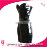 Off shoulder ladies slim bustier PVC clothing wetlook leather corset fetish lingerie costume