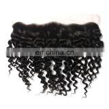 "Brazilian curly hair lace frontal 100%unprocessed virgin natural brazilian hair 13""x4""full lace frontal closure for black women"