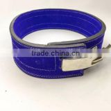 "Professional Fitness Weightlifting Power Gym Belt Lever Genuine Blue Leather Belt 4"" Silver Buckle New"