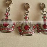 Zinc Alloy 3D design metal crown pendant charms with Colorful Rhinestones