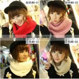 Hot Selling Fashion Women Plain Circle Loop Wool Knitted Scarf