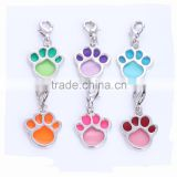 Custom Made Dog Accessories Transparent Enamel Dog Paw Print Charms