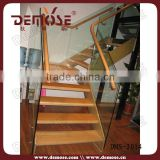 stair edge protection / tempered glass plastic stair handrail with wood treads