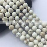 2.0mm Large Hole Hot Selling Round Matte White Turqoise Gemstone Loose Beads Approximate 15.5 Inch
