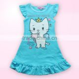 Multicolour kids clothing cotton girls dresses with Angel Cat sweeting latest design baby 2-6y dress