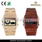 Sqaure face with led light digital wood watch waterproof wood watch