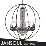zhongshan new design cheap wrought iron pendant light candle chandelier with bird cage