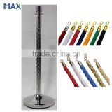 swirl grain crown top stainless steel rope pole barrier stanchion                                                                         Quality Choice