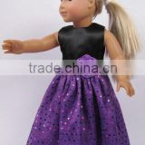 best selling beautiful handmade long black and purple with paillette doll clothes for american girl dolls