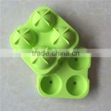Green Round Ice Ball Ice Cube Tray Silicone Mold 4-Cavity Spheres Ice Tray Mold With Lid Ice Ball Maker