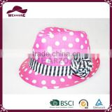 Top selling girls lovely pink wave point fedora hat in Alibaba