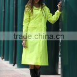 European style durable fashion yellow polyester fabric with PVC pu coating waterproof long raincoat poncho rainsuit