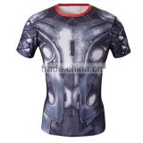 OEM Factory Wholesale High Quality Marvel Superhero Clothes Compression Tights T Shirt 3D Printing Men Tops