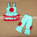 2014 new arrival posh hot green with red flower with ruffle tank top , pant in set