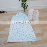 Knitted Jacquard Baby Hodded Blanket/Towel Baby Wrap Infant Swaddle New born Sleeping Bag