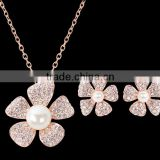 Jewellry Trends 2016 Pearl Flowers Earrings Fashion Opal Jewellery Stainless Steel Opal Pearl Jewelry Set