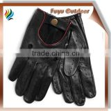 Classic CHINA Long Black Warm Split Leather Plain Style Unlined Black Leather Gloves For Men