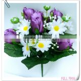 H32cm Satin Rose Bud/Daisy Artificial Flowers Bouquet for Wedding