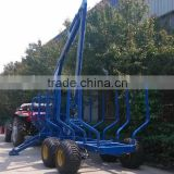 High quality Europe best selling ZM8006 8 tons Log loading trailer with crane