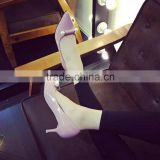 2016 Fashionable Ladies low heel shoes pearl pumps pointy toe korean high heels