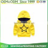 Wholesale Boys Boutique Clothes OEM Printed Pullover Hoodies with hood Children Yellow Sweatshirt