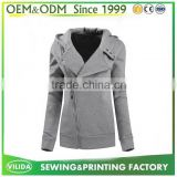 New Design Custom Slim Fit Plain Thick Fleece Full Zipper Hoodie Without Logo OEM