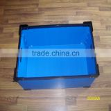 High quality blue small rigid foldable collapsible plastic storage turnover box for parts