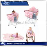 Comfortable pink 3 in 1 shooping cart cover,play mat and high chair cover for baby