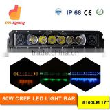 Auto parts 60W led light bar color change light bar 17inch vehicle led light bar halo for cars 4X4