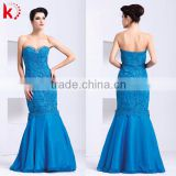 Fashion Sweetheart Off-shoulder Sexy Backless Elegant Beaded Blue Fishtail Gorgeous Arabian Dresses