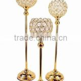gold plated crystal ball table decor candle holder