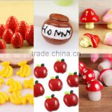 creative banana apple fruit design resin charms children fruit imitation charm for kids jewelry