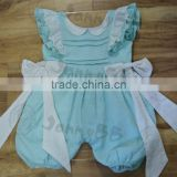 baby clothes romper doll collar bow on two sides eyelet lace sleeve boutique embroidery romper