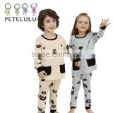 Bear Design Pocket Top Full Print Trousers Kid Match Pyjamas Sets