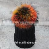 Wholesale Beanie Hats with raccoon fur ball for lady
