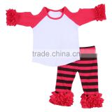Custom children clothing baby clothes ruffle buotique raglan icing pants set fall girls clothing