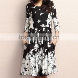 Hot Sale Women Dresses With Black Floral Fit And Flare Pocket Dress Women Flower Dress Women Clothing GD90426-43