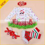 Christmas outfits Custom wholesale cute baby girls package hip romper dress up boutique female baby pajamas set