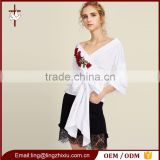 Customized 3D Flower Patch Ruched Sleeve Wrap Top For ladies
