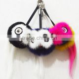 Real Mink Fur Pom Poms Bag Bug Little owl Bag Charm Key chain Luxury Car Jewelry Pendant of Mink furs