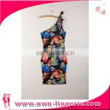 Women mini dress Fashion one shoulder print floral sleeve women mini dress