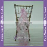 C303A Jenny Bridal Pink Blush Organza Chair Cover Ruffle Chair Sash