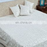 High Quality Super Soft Satin Cotton Handmade Design Jaipuri Bedsheet Pure White Bedding Set
